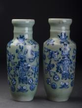 A Pair of Porcelain Babao Pots Qing Dynasty