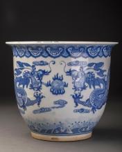 Blue and White Porcelain Flowerpot