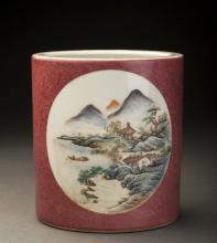 19/20thC Mountain Landscape Porcelain Brush Pot
