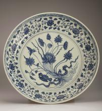 Blue and White Lotus Porcelain Charger Plate