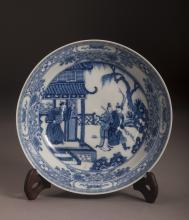 19th/20thc Blue And White Porcelain Charger
