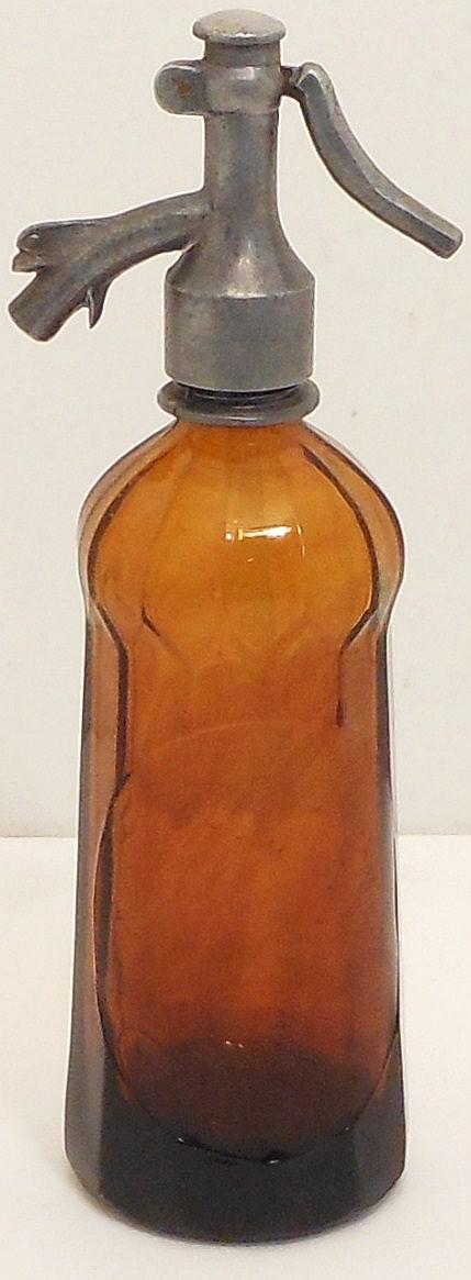 Vintage Romanian Vitrometan Amber Siphon Seltzer Bottle