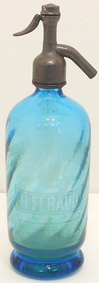 Vintage H. Feraud Blue Swirl Siphon Seltzer Bottle