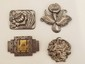 3 Victorian & 1 Mexican Sterling Silver Brooches