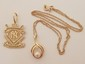14K NY Yankees Pendant & Pearl & Diamond Necklace