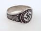 German Nazi WWII NSDAP Swastika Silver Ring