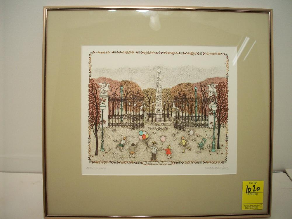 Cuca Romley Hand Colored Etching 'Jardins des Tuileries'