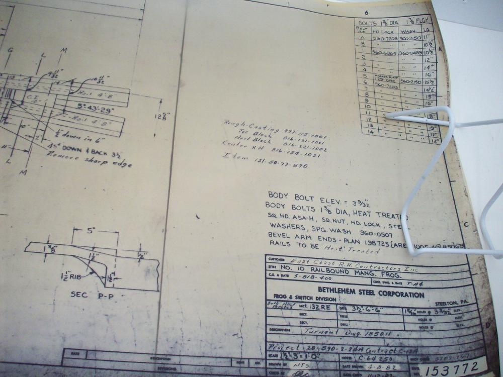 Bethlehem Steel Sepia Mylar Railroad Parts Drawings