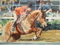 Watercolor Del Noce Horse and Jockey