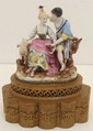 French Hand Painted Porcelain Figural Lamp