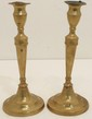 Pair of Antique Brass Push Up Candlesticks