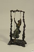 Signed Auguste Moreau French Bronze - Tree Swing