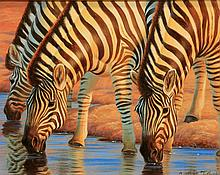 Zebras, acrylic painting by Cynthie Fisher