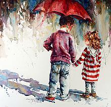 Skinny Jeans & Big Brothers, watercolor painting by Bev Jozwiak