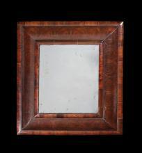 A small William & Mary walnut oyster veneered mirror
