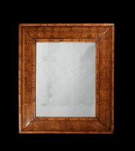 A large William & Mary walnut oyster veneered mirror