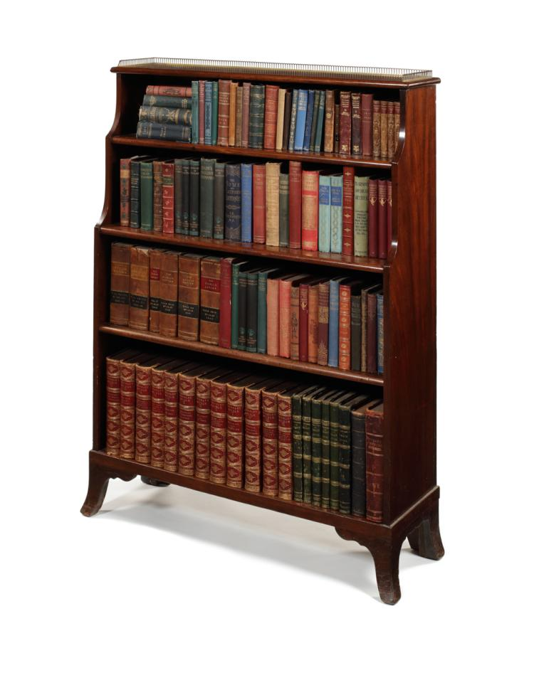 A regency mahogany four tier waterfall bookcase for Furniture 30cm deep