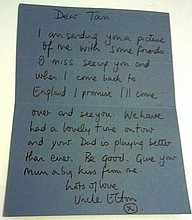 Elton John written letter