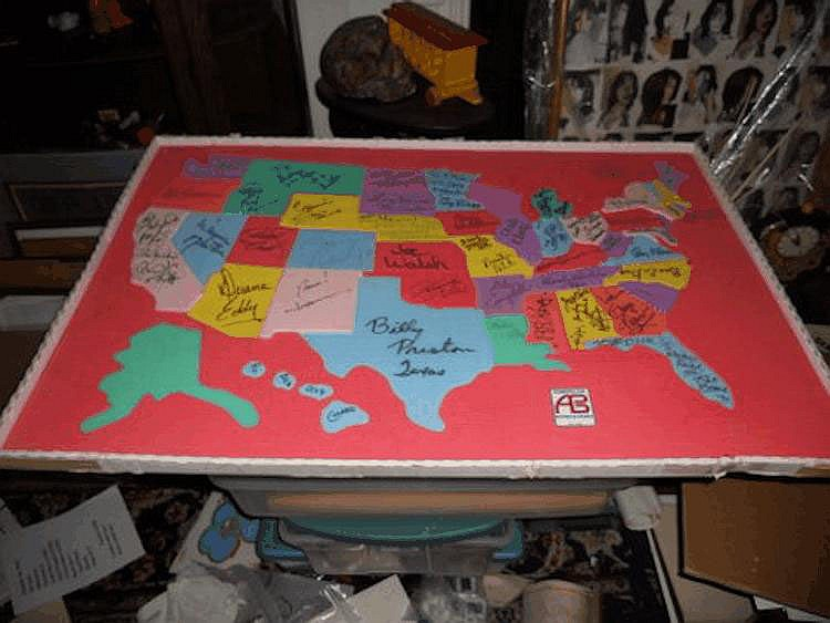 Map of USA, former property of Dick Clark