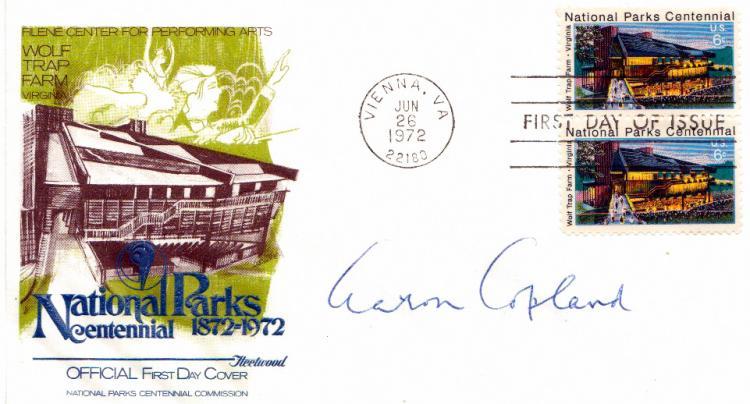 Composer aaron copeland postal cvr signed for Aaron copland el salon mexico score