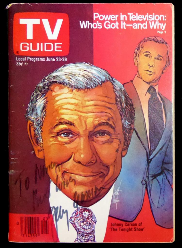 Tonight Show Host JOHNNY CARSON - TV Guide Signed