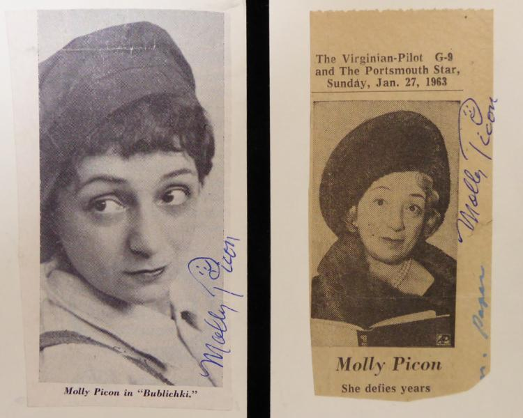 Yiddish Actress MOLLY PICON - Two Photos Signed