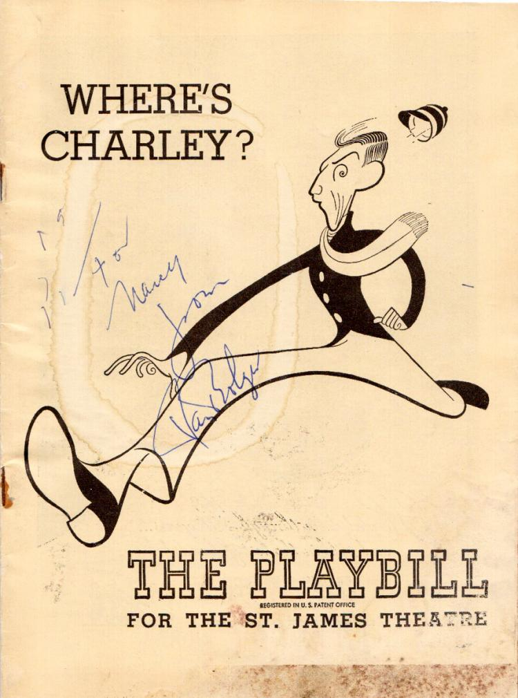 RAY BOLGER - Where's Charlie? Playbill Signed