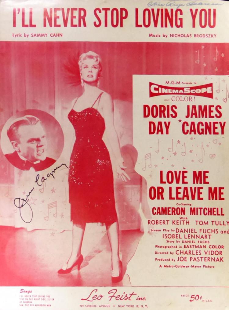 JAMES CAGNEY - Movie Sheetmusic Signed