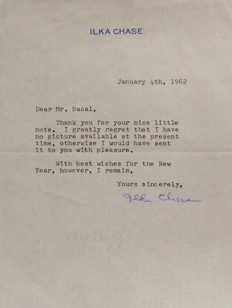 Actress ILKA CHASE - Typed Ltr Signed