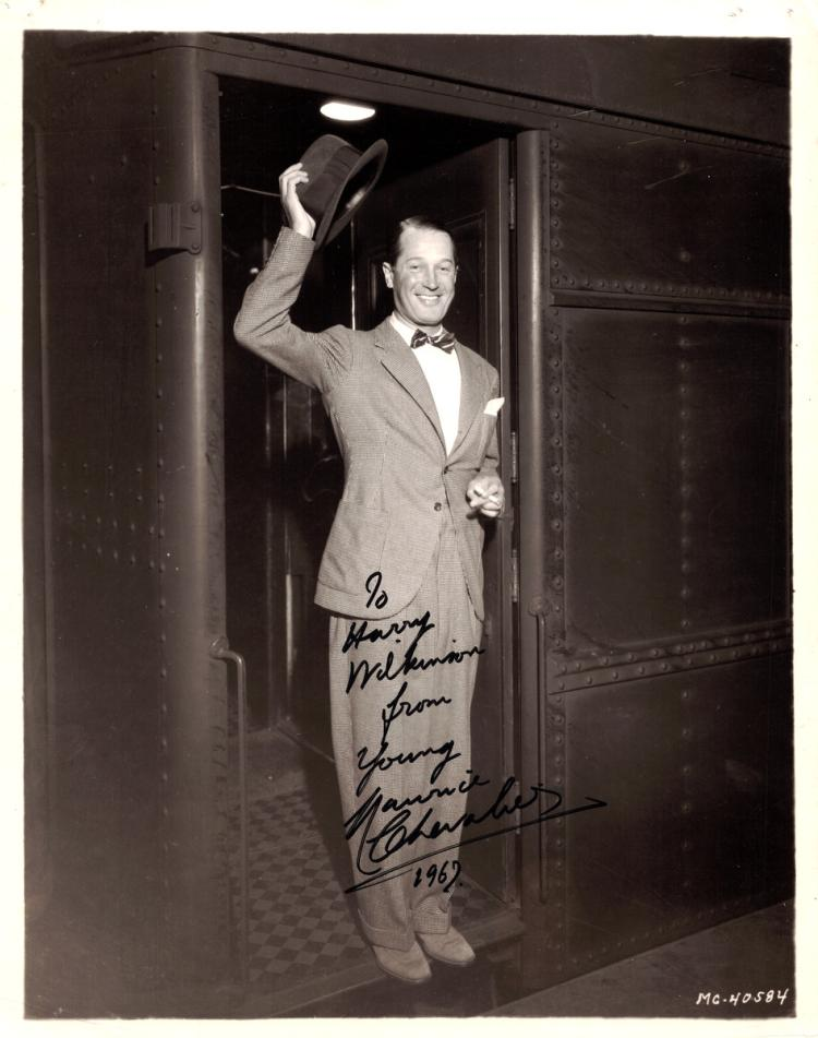French Actor MAURICE CHEVALIER - Photo Signed