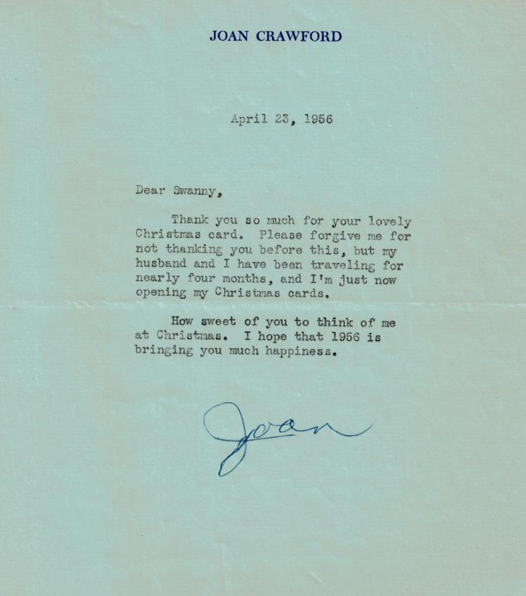 JOAN CRAWFORD - Typed Ltr Signed