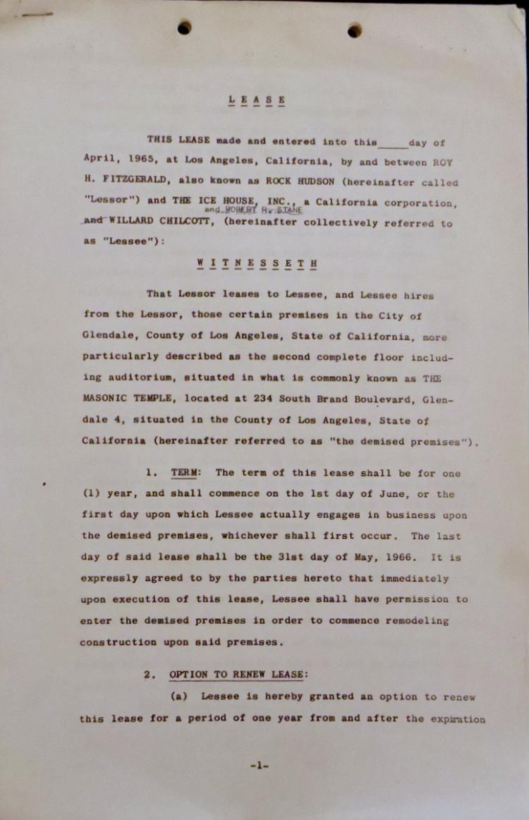 Actor ROCK HUDSON - Lease Agreement Signed *RARE Form*