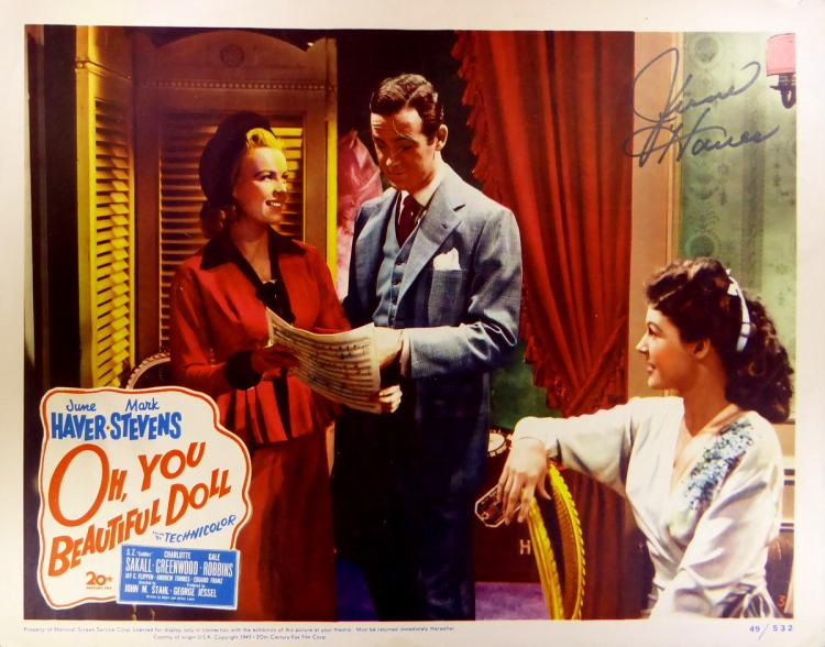 Actress JUNE HAVER - Lobby Card Signed