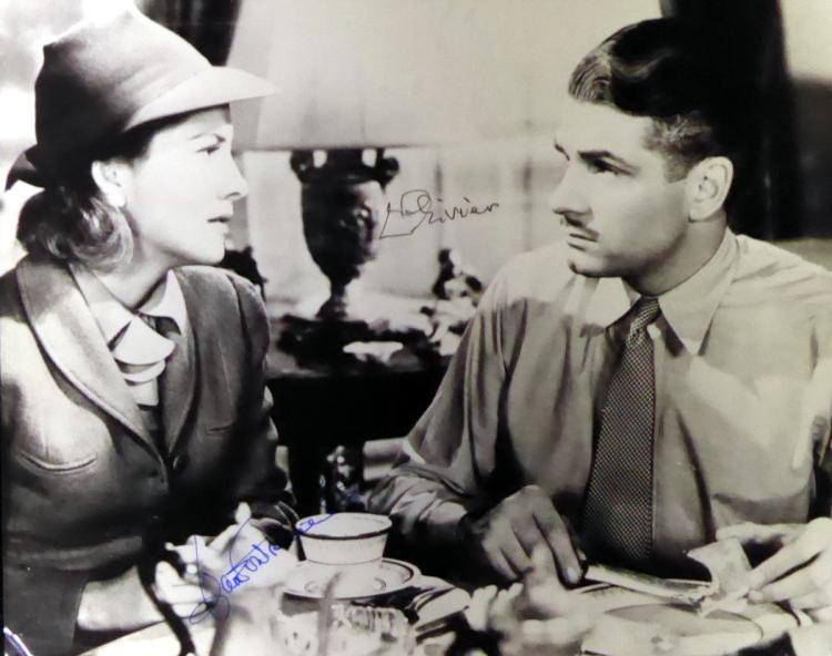 LAURENCE OLIVIER & JOAN FONTAINE - Movie Still Signed