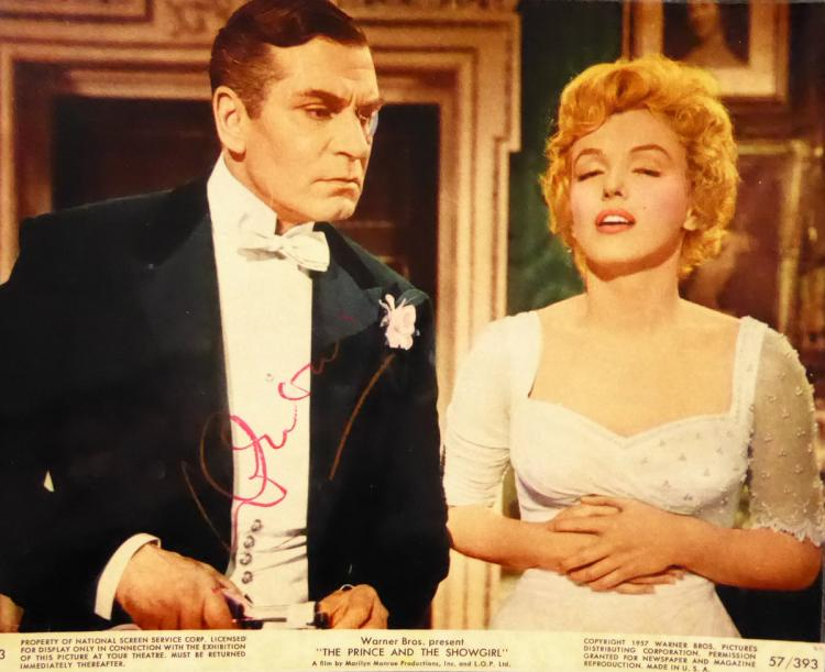 LAURENCE OLIVIER - Photo with Marilyn Monroe Signed