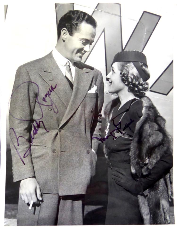 Actors MARY PICKFORD & BUDDY ROGERS - Photo Signed