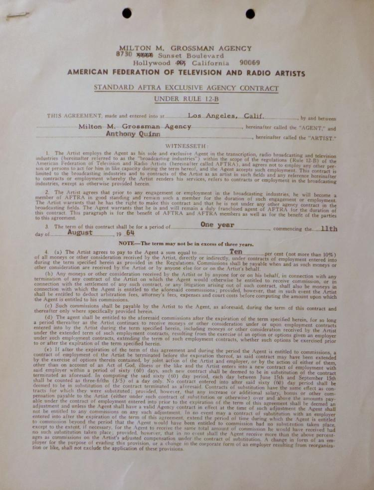 Actor ANTHONY QUINN - Agents Contract Signed