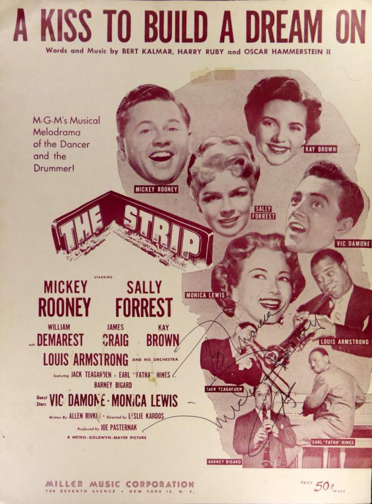 Actor MICKEY ROONEY - Sheet Music Signed