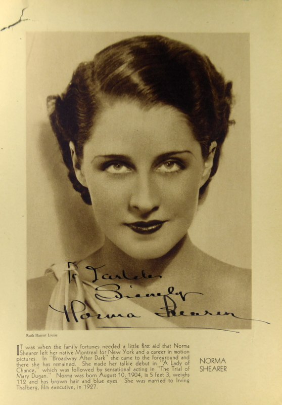 Actress NORMA SHEARER - Photo Signed