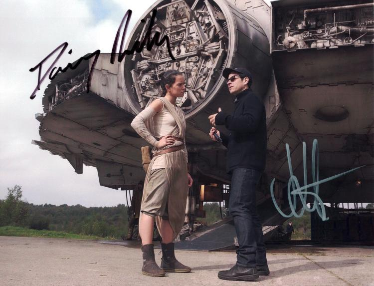 Star Wars: DAISY RIDLEY & J J ABRAMS - Photo Signed