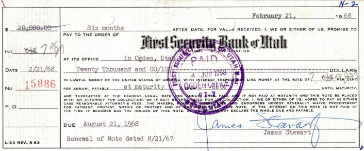 Actor JAMES STEWART - Promissory Note Signed