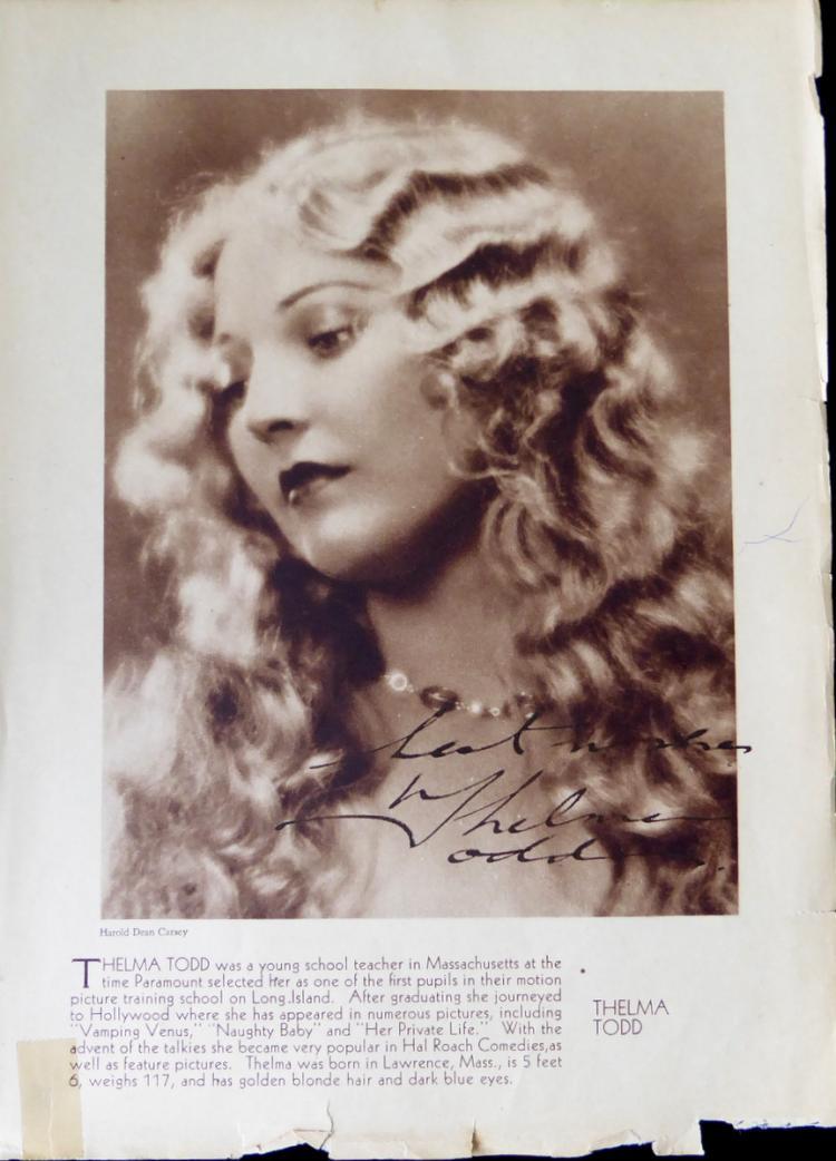 Actress THELMA TODD - Photo Signed