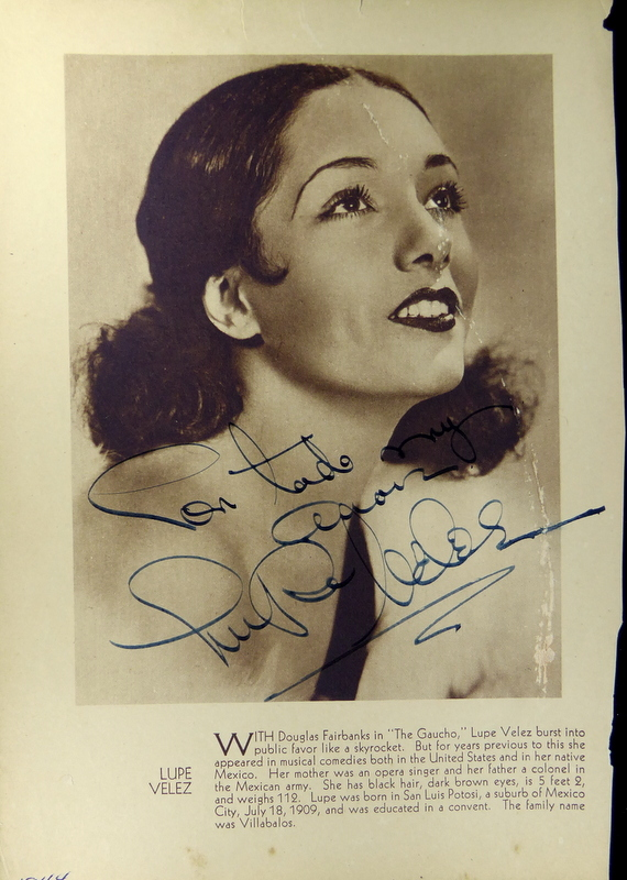 Mexican Actress LUPE VELEZ - Photo Signed