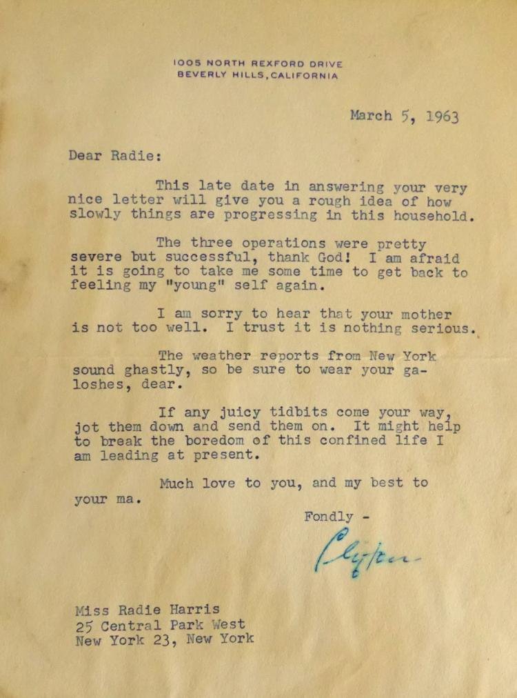 Actor CLIFTON WEBB - Typed Ltr Signed