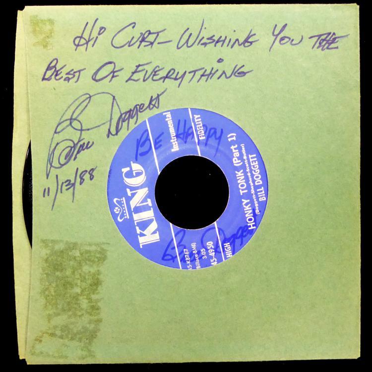 Jazz, Rhythm Pianist BILL DOGGETT - 45rpm Record Signed