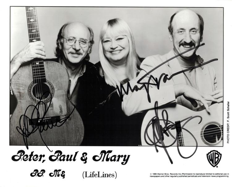 Folk Trio PETER, PAUL and MARY - Photo Signed
