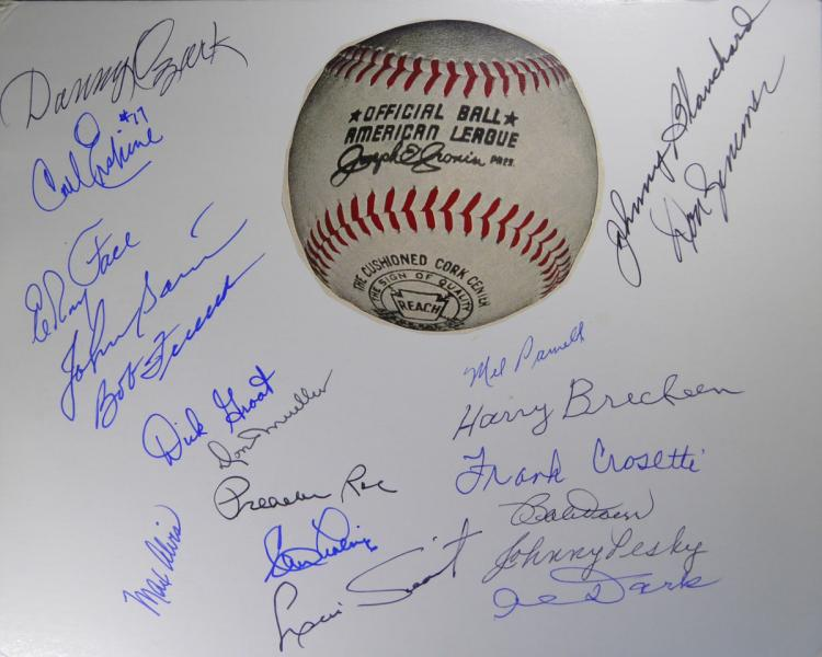 BASEBALL - Card Signed by Nineteen Former Players