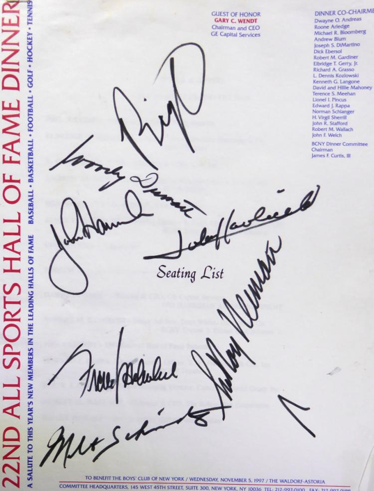 ALL SPORTS DINNER - Chart Signed by 7 LeROY NEIMAN