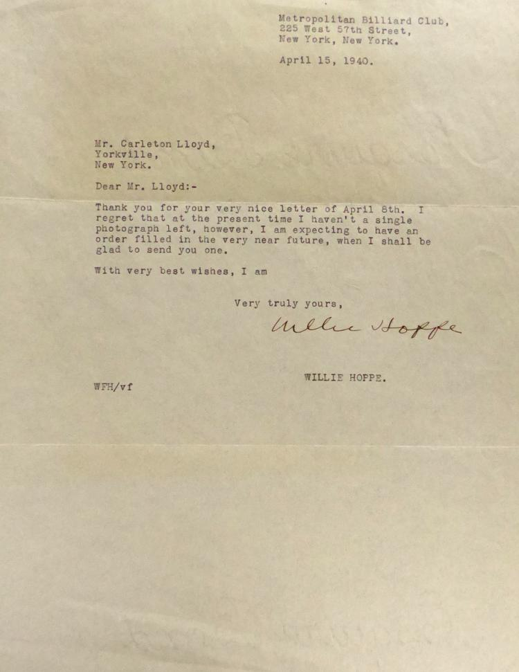 Billiards Champ WILLIE HOPPE - Typed Ltr Signed