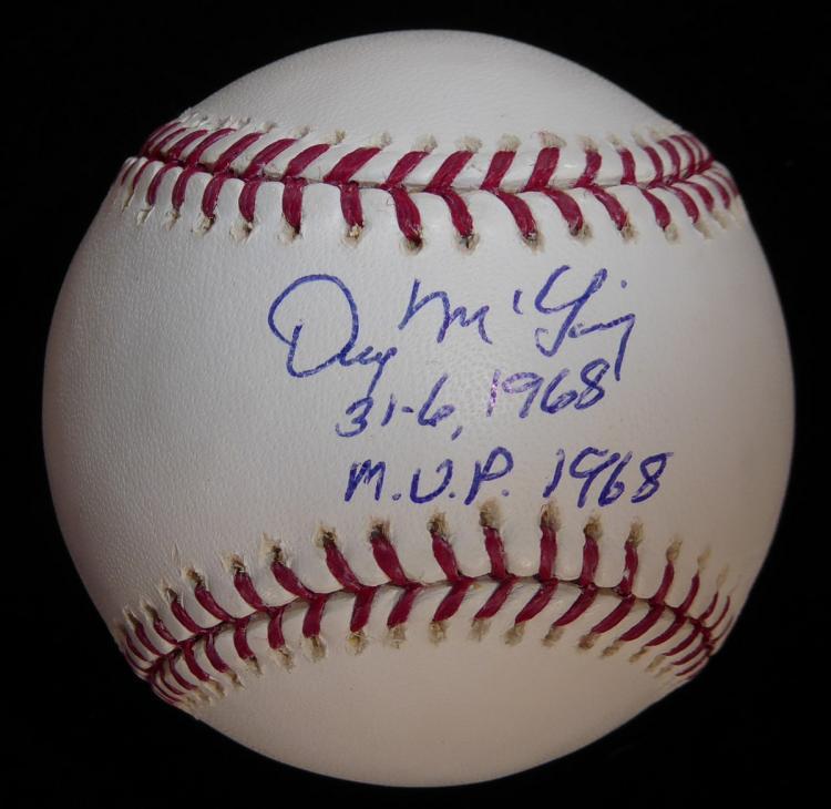 30 Game Winner DENNY McLAIN - Baseball Signed